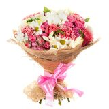 Fresh, lush bouquet of colorful flowers, isolated on white background Royalty Free Stock Photography