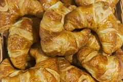 Fresh lush croissants handmade. Banquet table. Catering.  stock photography