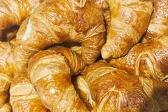 Fresh lush croissants handmade. Banquet table. Catering.  stock photos