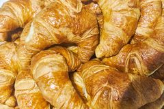 Fresh lush croissants handmade. Banquet table. Catering royalty free stock photo
