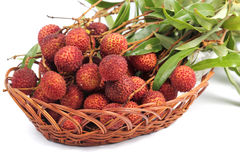 Fresh lychee fruit in basket Stock Photo