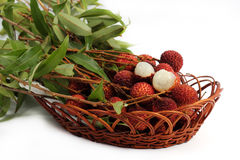 Fresh lychee fruit in basket Stock Images