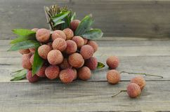Fresh lychee fruit on wooden background, beautiful. Fresh lychee fruit on wooden background Stock Photos