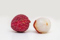 Fresh lychee fruits. On white background Royalty Free Stock Photo