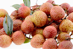 Fresh lychee fruits on a white Royalty Free Stock Photo