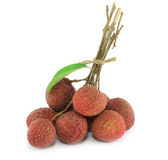 Fresh lychees. On white background Royalty Free Stock Images