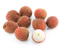 Fresh lychees. On white background Royalty Free Stock Photography