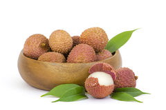 Fresh lychees in a bowl Stock Images