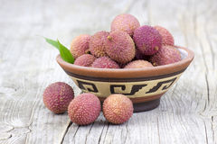 Fresh lychees in a bowl Stock Photography
