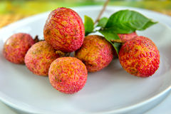 Fresh lychees Stock Photos