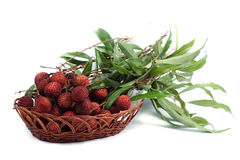 Fresh lychees fruit in basket Royalty Free Stock Image