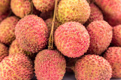 Fresh lychees fruit with isolate white background Royalty Free Stock Photo