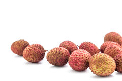 Fresh lychees fruit with isolate white background Royalty Free Stock Photography