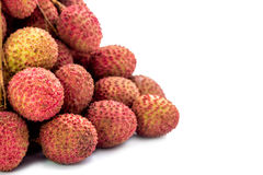 Fresh lychees fruit with isolate white background Stock Images