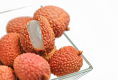 Fresh lychees isolated Royalty Free Stock Images