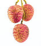 Fresh lychees. Isolated on white Stock Photo