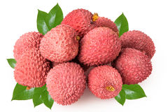 Fresh lychees isolated on white Stock Photography
