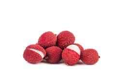 Fresh lychees isolated on white. Background Stock Photography