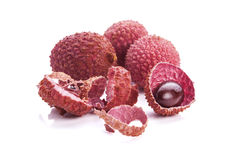 Fresh lychees isolated on white background Royalty Free Stock Photos