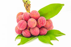 Fresh lychees with leaf Royalty Free Stock Photo