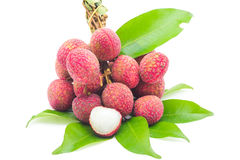 Fresh lychees with leaf Stock Image