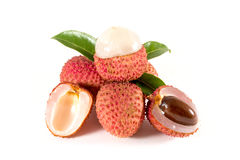 Fresh lychees. Lychee. Fresh lychees isolated on white Stock Photography