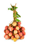 Fresh lychees on white background Stock Photo