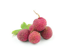 Fresh lychees  on white background Royalty Free Stock Photo