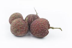 Fresh lychees  on white background Royalty Free Stock Photography