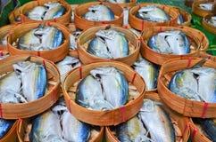 Fresh mackerel in basket in market, Thailand Stock Images