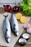 Fresh Mackerel Fish With A Lemon, Bow, Salt And Pepper On A Wooden Table Stock Photos