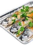 Fresh Mackerel Fish With Parsley On The Aluminium Foil Tray Royalty Free Stock Image