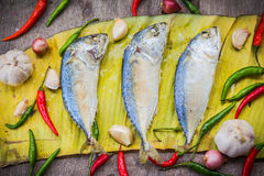 Fresh Mackerel with garlic, chilli and onion on banana leaf. Stock Photography