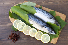 Fresh mackerel in grape leaves with lemon. Slices Stock Photo