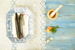 Fresh mackerel and ingredient Royalty Free Stock Photos