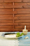 Fresh mackerel and ingredient Stock Photography