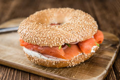 Fresh made Bagel with Salmon (selective focus) Royalty Free Stock Images