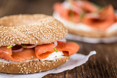 Fresh made Bagel with Salmon (selective focus) Royalty Free Stock Photography