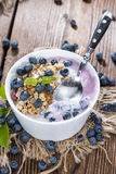 Fresh made Blueberry Yogurt Royalty Free Stock Photography
