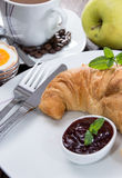 Fresh made Breakfast with Croissant and Jam Stock Photos