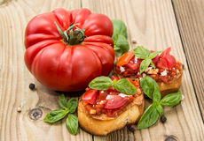 Fresh made Bruschetta with ingredients Stock Photos