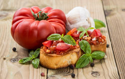 Fresh made Bruschetta with ingredients Stock Photo
