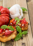 Fresh made Bruschetta with ingredients Royalty Free Stock Photos