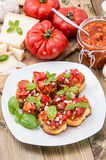 Fresh made Bruschetta on a plate Stock Photography