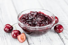 Fresh made Cherry Jam. Some homemade Cherry Jam as detailed close-up shot, selective focus Stock Photos