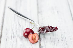 Fresh made Cherry Jam. Some homemade Cherry Jam as detailed close-up shot, selective focus Royalty Free Stock Images