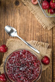 Fresh made Cherry Jam. Some homemade Cherry Jam as detailed close-up shot, selective focus Stock Images