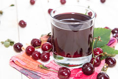 Fresh made Cherry Juice Stock Photography