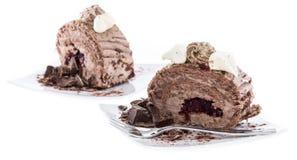 Fresh made Chocolate Cake on white Royalty Free Stock Photos