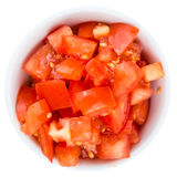 Fresh made Cutted Tomatoes over white Royalty Free Stock Photos